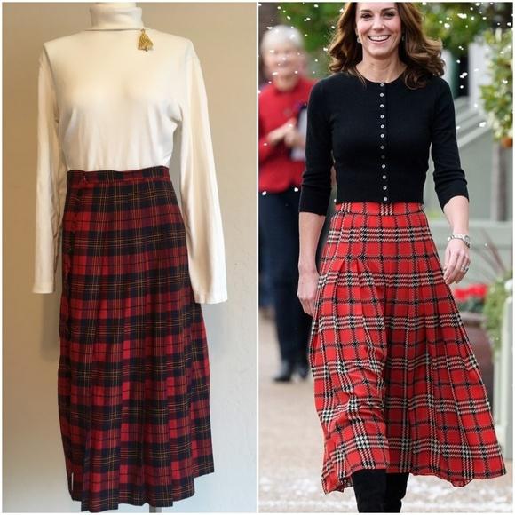 2fb0b64399 David Brooks Skirts | Vintage Red Tartan Pleated Wool Skirt | Poshmark